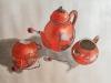 2018 Juego de té chino antiguo. Acuarela y tinta china con fondo plateado, 33 x 50 cm.