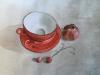 2018. Tacitas y granada. Acuarela y tinta china con fondo plateado, 50 x 33 cm.