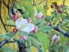 Pomer en flor 2015. Aquarel·la sobre paper amb fons d'or