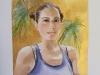 2020. La meva amiga Katalin  Aquarel·la amb fons or, 25 x 25 cm.