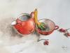 Cruche rouge, tasse et baies.2018 Aquarelle et encre de Chine 50 x 35 cm.