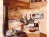 La cucina 1993 cartolina per Galeria de Dibuix Piscolabis BCN Acquerello, China-e-mordente di noce su carta 80x59cm