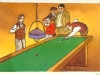 Billiards. Watercolour and Indian ink.
