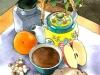 Petit déjeuner. Aquarelle et encre. Agenda Louise L.Hay 2011.Ed. Urano