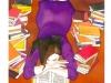 Il piacere della lettura, poster. Acquerello e china
