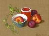 Nectarines et prunes 2007. Huile sur toile