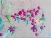 Pommier nain inachevée 2016 Huile et encre sur linge ancien
